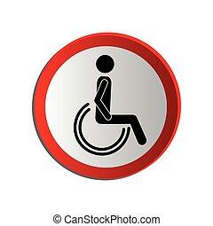 circular contour road sign person sitting wheelchair vector...