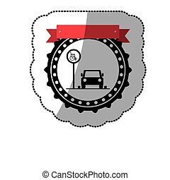 dotted sticker with disabled park area and label vector...