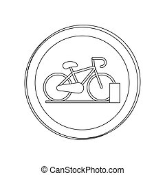 silhouette circular shape with bicycle and parking area