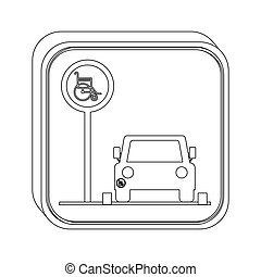 silhouette button disabled park area vector illustration