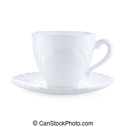 cup on a plate isolated