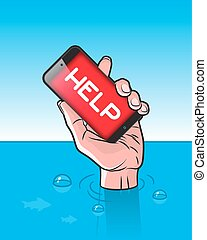Drowning man with Smartphone in Hand with HELP signal on...