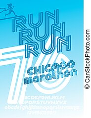 Chicago marathon run poster