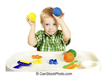 Kid Playing Molding Clay Toys, Child Plasticine Dough