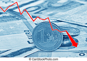 Graph showing the decline of Euro paper currency and coins -...