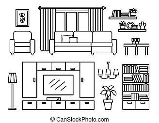 Living room modern furniture.