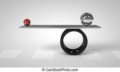 3d illustration of Balancing balls on board conception