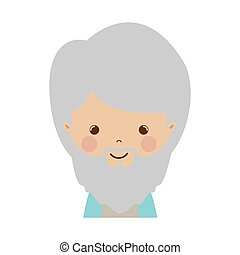 front face wise man gaspar cartoon vector illustration