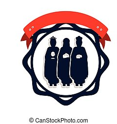 silhouette border with the three wise men and label vector...
