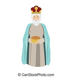 elderly wise man gaspar kneel down vector illustration