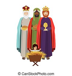 Wise man with offering a baby jesus vector illustration