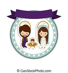 sticker border with holy familily and baby jesus cartoon...
