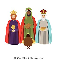 half body wise man with offering a baby jesus vector...