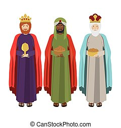 full body wise men with gifts vector illustration