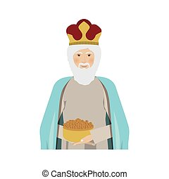 half body figure human a wise man gaspar vector illustration