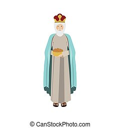 colorful figure human a wise man gaspar vector illustration