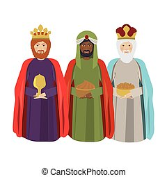 half body wise men with gifts vector illustration