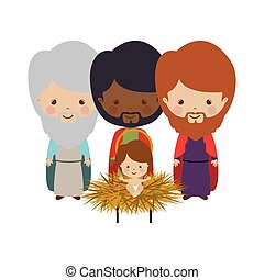 Wise man with offering a baby jesus cartoon vector...