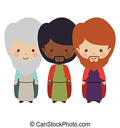 full body wise men carttoon vector illustration