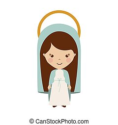 colorful figure human virgin maria cartoon vector...