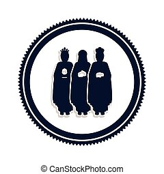 silhouette border with the three wise men vector...
