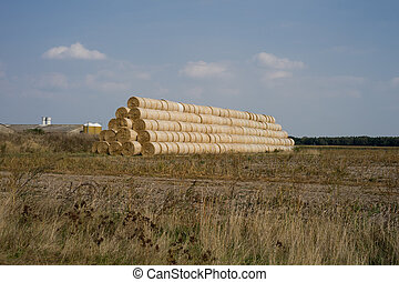 Straw bales - Stacked straw bales on a field