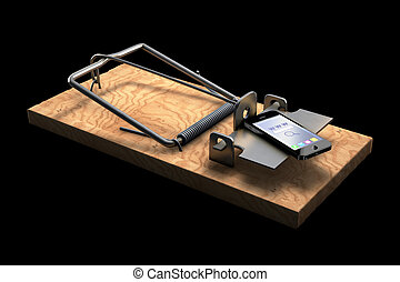 Mousetrap with phone isolated on black - 3D illustration of...