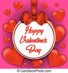 Valentines day card with red bow and hearts on red background. Vector illustration