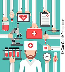 Medical blood analysis flat design with doctor.Vector...