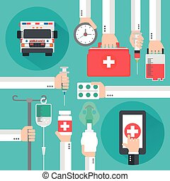 Medical online design flat with Ambulance