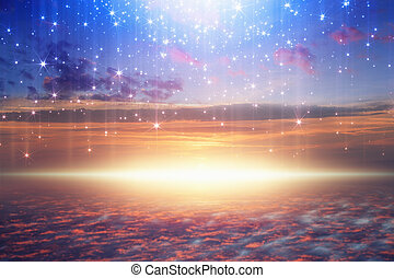 bright light from heaven, stars fall from skies - Amazing...