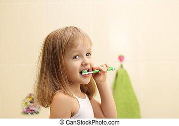 女孩,  litle, 打掃, 牙齒