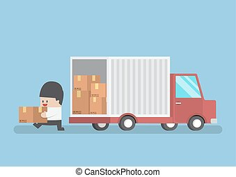 Businessman holding parcel from truck