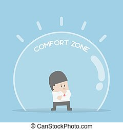 Businessman standing in comfort zone, fear of change and...