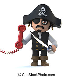 3d Cute cartoon pirate captain character answers the phone -...
