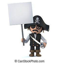 3d Cute cartoon pirate captain character holds up a blank...