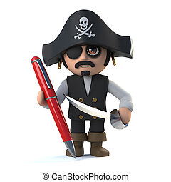 3d Cute cartoon pirate captain character signs with a red...