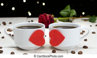 Romance in Valentine's Day. Two cups of coffee for...