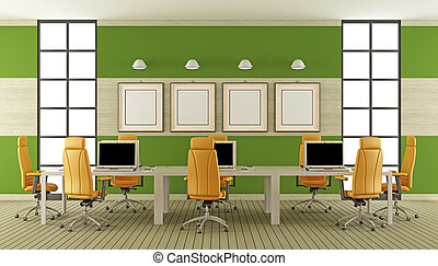Modern boardroom with large meeting table with laptop - 3d...