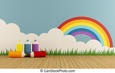 Colorful home playroom - Colorful playroom with cloth...