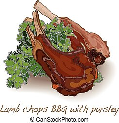lamb chops BBQ isolated white background