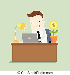 Businessman is working to take a profit ,vector illustration...