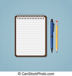 Notebook with pen and pencil