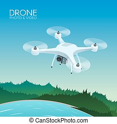 Drone with remote control flying over nature landscape....