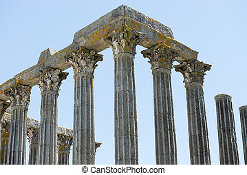 Dianna Temple in Evora. Ancient roman temple in the old city...