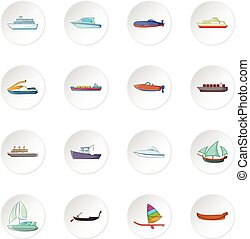 Ship and boat icons set in white circle isolated on white...