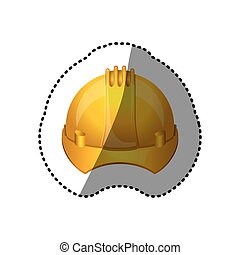 dotted sticker safety helmet icon vector illustration