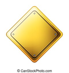 Rhombus safety road sign yellow