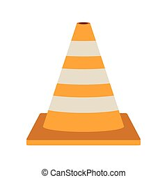 striped traffic cone flat icon