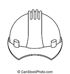 silhouette construction safety helmet icon vector...